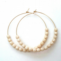 Gold Filled Vanilla Czech Glass Beaded Hoops....