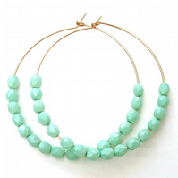 Gold filled  Seafoam Green Czech Glass Beaded Hoops.....