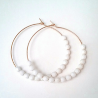 Gold Filled Hoops White Czech Glass Beaded Hoops....