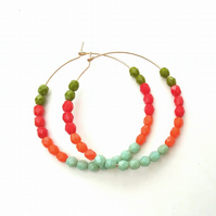 Gold filled  multi coloured   Hoops