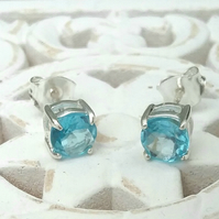 Swiss Blue Topaz Stud Earrings....