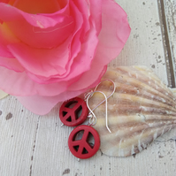 Peace Earrings Red