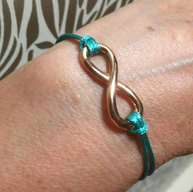 Infinity Bracelet, Rose gold Plated charm,