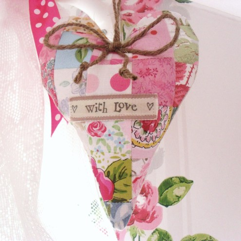 """With love"" Patchwork Lavender Heart"