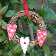 Small Grapevine Wreath with Hearts