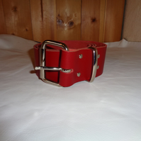 Chunky Real Leather Handmade Red Leather Belt  46 Inch.