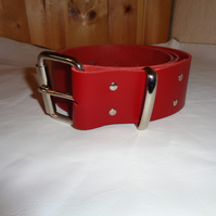 Chunky Real Leather Handmade Red Leather Belt 47 Inch.