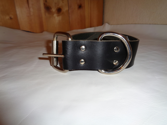 Chunky Real Leather Handmade Black Leather Belt 45 Inch.