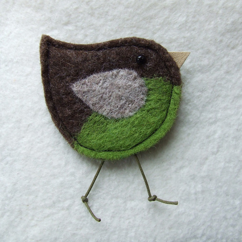 Little Bird Brooch - Green
