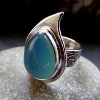 Sterling Silver and blue chalcedony teardrop flower textured ring