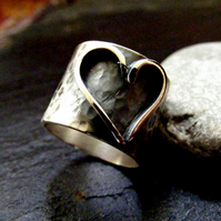 Silver Heart ring ,Wide Band hammered ring with raised heart design