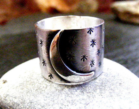 Silver Moon and Stars Ring ,Celestial silver ring
