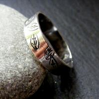 Silver Leaf Stamped ring ,Sterling silver silver nature band