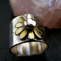Silver Leaf textured flower ring ,brass and silver Sterling Statement Ring