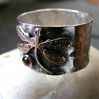 Silver Dragonfly Ring with Garnet  Hammered ring with brass dragonfly