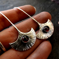 Silver hammered crescent garnet long drop earrings , tribal style earrings