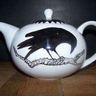 The Raven Gothic hand painted teapot personalised to order 6 cup Edgar Allan Poe