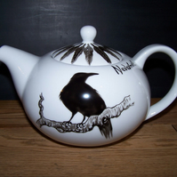 The Raven Gothic hand painted teapot to order Nevermore 6 cup Edgar Allan Poe