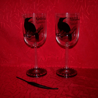 Pair of Raven Wine Glasses inspired by Edgar Allan Poe in presentation box
