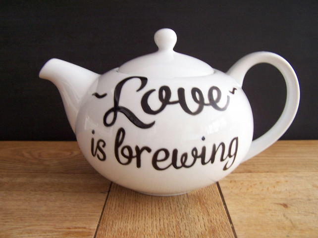 Hand painted teapot 6 cup personalised TattooTeaLady wedding anniversary xmas