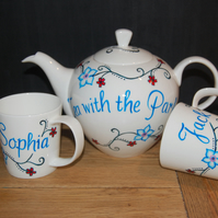 Hand painted teaset tattoo inspired flowers with 2 matching mugs TattooTeaLady
