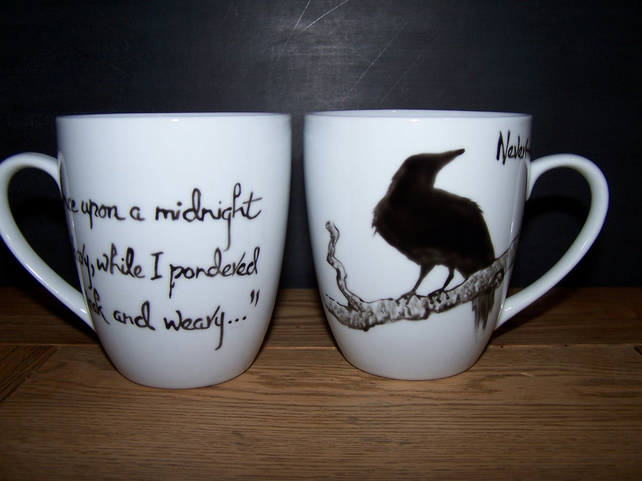 Raven Mug hand painted individually to order Edgar Allan Poe NEVERMORE