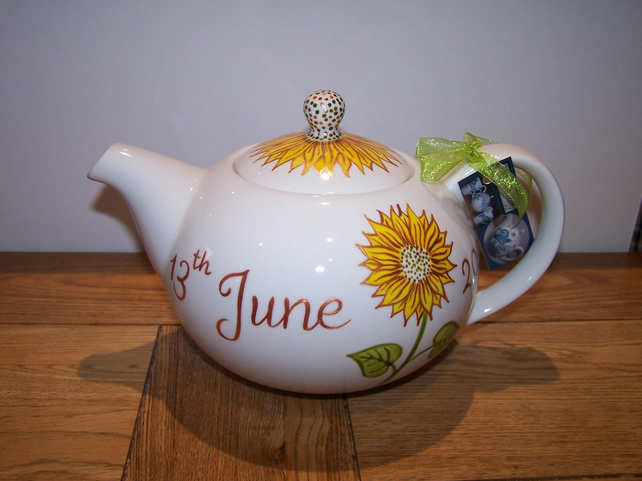 Sunflowers Teapot 6 cup hand painted and personalised wedding anniversary