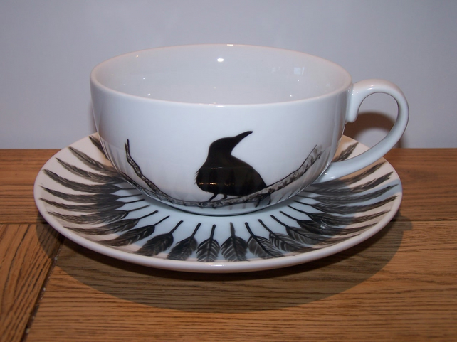 Raven Cappuccino Cup & Saucer Hand Painted to order by Tattoo Tea Lady