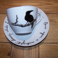 Raven Cappuccino : Teacup & Saucer Hand Painted to order by Tattoo Tea Lady