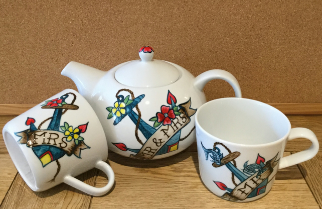 TEASET MR & MRS WEDDING HAND PAINTED ANCHOR TATTOO FLOWERS 'N KOI CARP