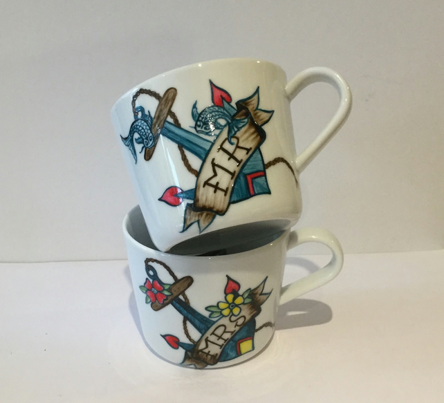 MR & MRS WEDDING MUGS HAND PAINTED ANCHOR TATTOO FLOWERS 'N FISH