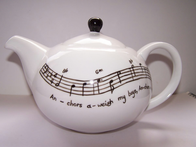 Music Teapot hand painted 6 cup personalised gift  with your favourite lyrics