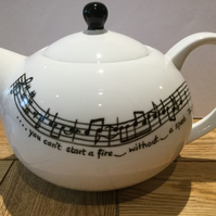 Music Teapot hand painted 6 cup personalised  with your favourite lyrics