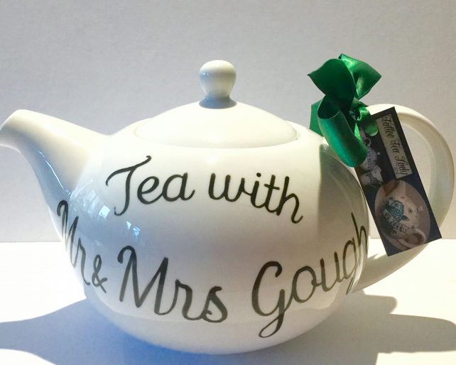 Hand painted teapot 6 cup personalised wedding anniversary leaving gift