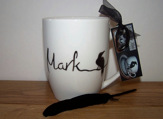 Raven Mug  Name or Initial Hand Painted individually to order xmas birthday