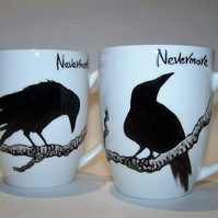 Pair of Raven Mugs Edgar Allan Poe NEVERMORE! Hand Painted to order individually