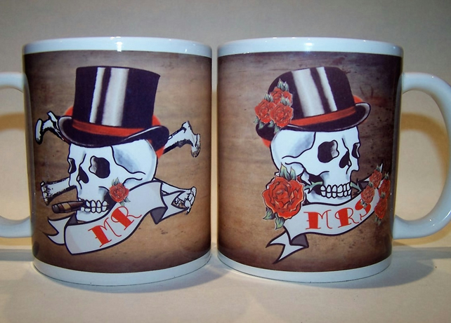 MR & MRS pair skull tattoo mugs by Tattoo Mug Lady