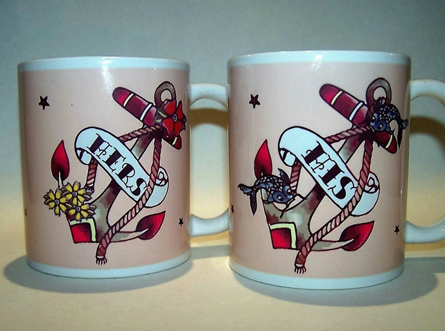 HIS & HERS pair wedding mugs anchor flowers and fish by Tattoo Mug Lady