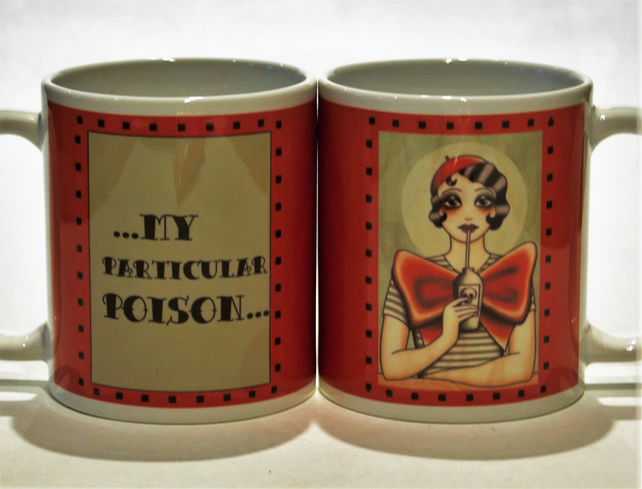 Flapper Girl mug by - My particular POISON - TattooTeaLady