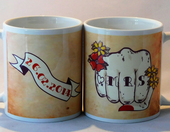 MR & MRS Tattoo fists pair wedding mugs banner customised with date