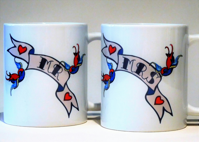 MR & MRS pair wedding mugs swallow banner customised with date