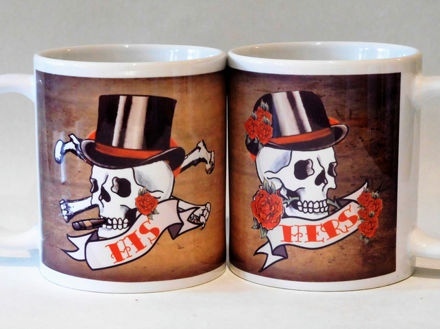 HIS & HERS pair skull tattoo mugs by Tattoo Mug Lady