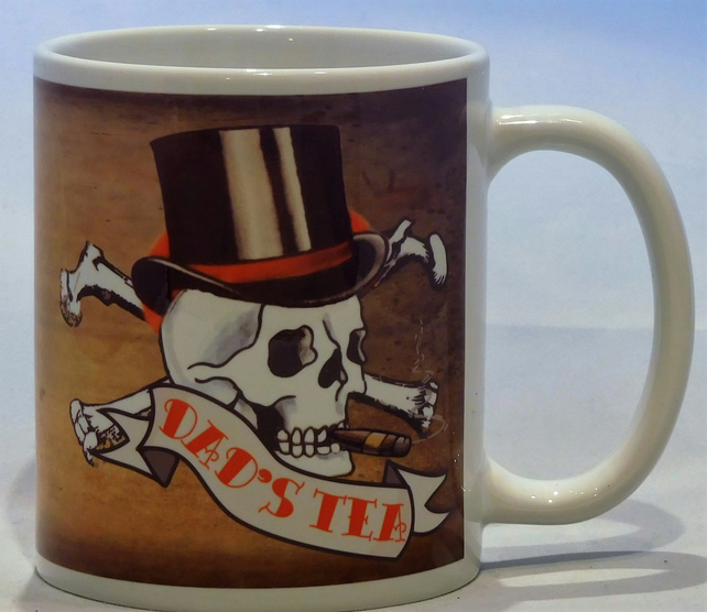 Father's Day DAD mug skull tattoo  by Tattoo Mug Lady