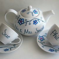 Hand painted wedding china teaset personalised to order teapot 2 cups 'n saucers