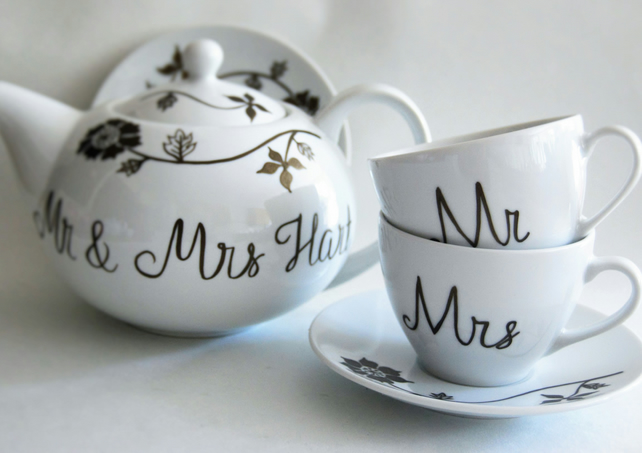 Wedding china teaset hand painted personalised to order teapot 2 cups 'n saucers