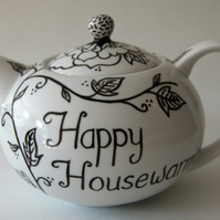 Teapot Black flowers hand painted personalised to celebrate any occasion