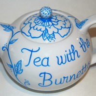 Wedding teapot hand painted personalised to order