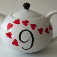9th anniversary teapot hand painted 6 cup personalised TattooTeaLady