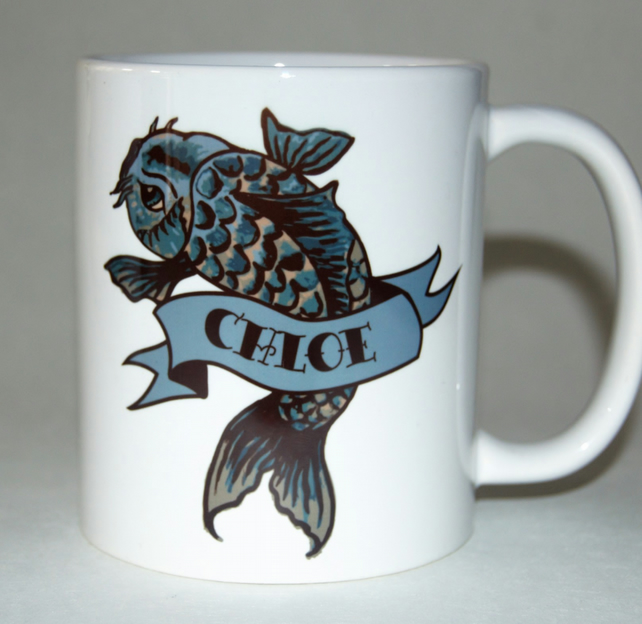 Tattoo Carp name mug  by Tattoo Mug Lady