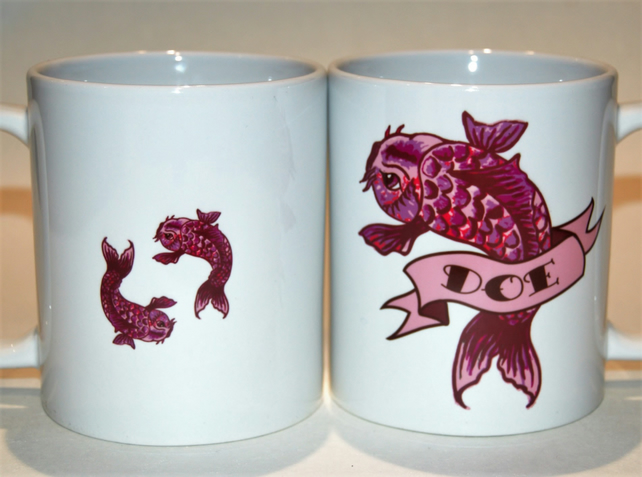 Pink Tattoo Carp name mug personalised to order by Tattoo Mug Lady